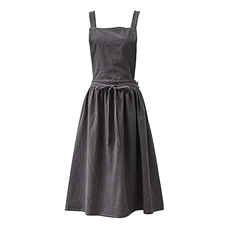 低下ヒント蒸発するAprons for the Kitchen Simple Washed Cotton Uniform Aprons for Woman Kitchen apron Cooking Coffee Shop apron for women Charcoal grey