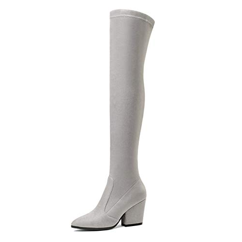 Motorcycle Boots for Women Wearable Square Heel Flock Warm Lining Pointed Toe Concise Party Banquet Soft Knee High Boots