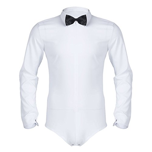 CHICTRY Herren Latein Tanzbekleidung Standard Training Turnier Body Hemd Langarm mit Fliege Tanz Leotard Overall Unterwäsche Weiß X-Large