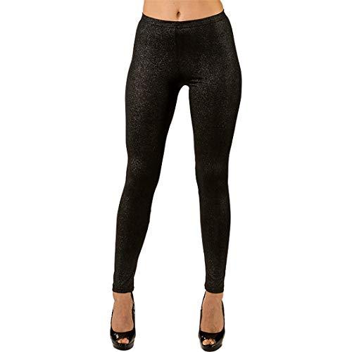 Amakando Versátil pantalón Ajustado Brillante para Mujer / Negro en Talla L/XL (ES 46 - 52) / Leggins para Dama con Efecto destellante para Diferentes Ocasiones / Mejor opción para Fiestas de Horror