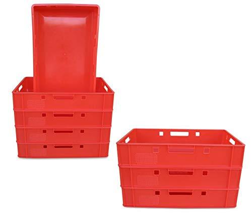 8 Stück E1 Kiste 60x40x12,5 cm Fleischkasten Lagerkiste Metzgerkiste Eurobehälter rot