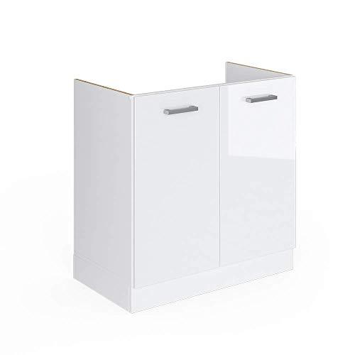 Vicco Küchenschrank R-Line Küchenzeile Hängeschrank Unterschrank Küchenschränke Küchenunterschrank Arbeitsplatte (weiß ohne Arbeitsplatte, Spülenunterschrank 80 cm)