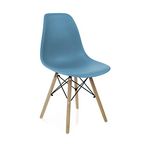 duehome - Nordik- Pack 4 sillas de Comedor, Salon, Cocina o Escritorio, Acabado en Madera de Haya, Medidas: 47 cm Ancho x 56 cm Fondo x 81 cm Altura (Turquesa)