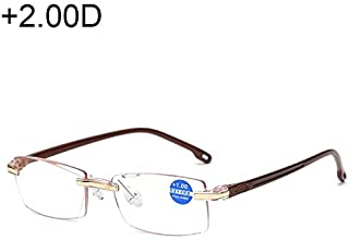 Jtj Rimless Anti Blue-ray Blue Film Lenses Presbyopic Glasses, 2.00D(Black) (Color : Brown)