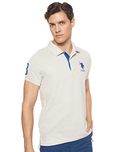 U.S. Polo Assn. Men's Short-Sleeve Polo Shirt with Applique, Stone Island, S