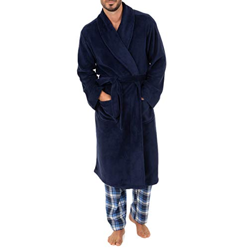 Chaps Men's Comfort Poly Suede Robe, Peacoat, One Size