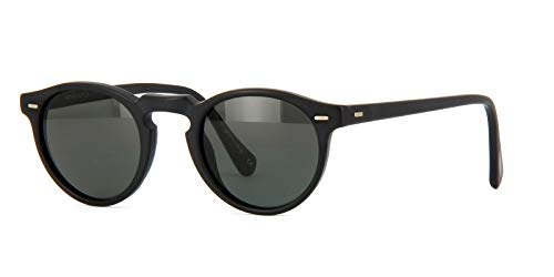 Oliver Peoples - GREGORY PECK SUN OV 5217/S, Rotondo, acetato, uomo, MATTE BLACK/MIDNIGHT EXPRESS POLARIZED VFX(1031/P2), 47/23/150
