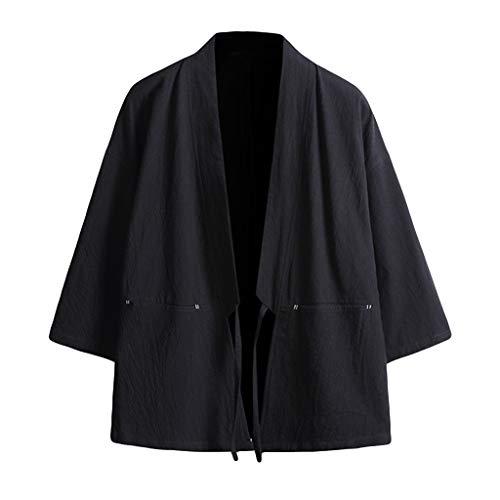 UJUNAOR T Shirt Uomo in Cotone e Lino Cardigan Manica a 3/4 Hip Hop Kimono Giapponese con Tasche Semplice Casual 2019 M,L,XL,2XL,3XL,4XL,5XL(X-Large,Nero)