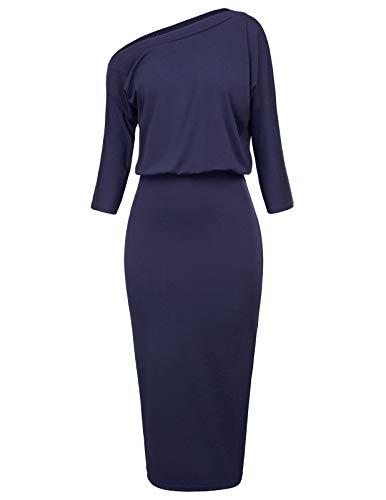 GRACE KARIN Women's 3/4 Sleeve Hips-Wrapped Pencil Dress Size M Navy Blue CL1054-4