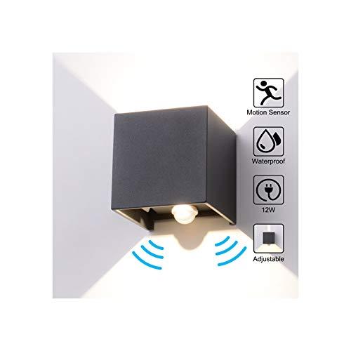 Wandleuchte Bewegungsmelder Aussen/Bewegungsmelder Innen LED Wandlampe, 12W Wasserdicht Verstellbare Aussenlampe, Wandleuchte Sensor für Garten/Flur/Weg Veranda Hell -Natürliches Weiß (Anthrazit)