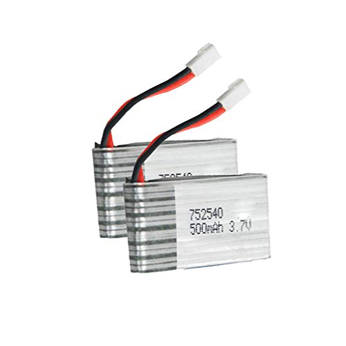 Volity Livoty Drone Spare Parts Batteries, (2PCs) 3.7V 500mAh Lipo Drone Replacement Battery for Syma X5HW X5HC X5UW RC Quadcopter