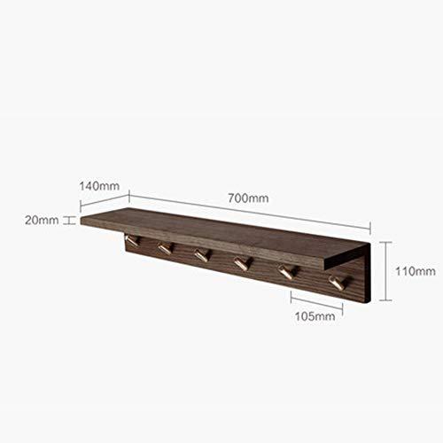 Jas rek muur gemonteerd beuken houten plank open haak rack opslag plank 6 messing haken, badkamer hal keuken 70X14x11 cm B