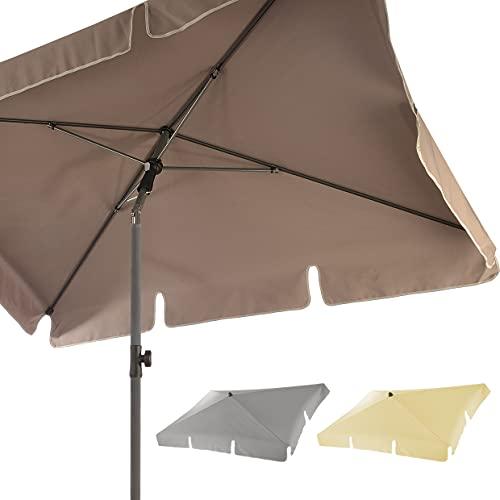 4smile Sonnenschirm Balkon SunnyShade – UV 50+ Balkon-Sonnenschirm rechteckig, 200x125cm, knickbar - zeitlos modern in Fb. Taupe - rechteckige Sonnenschirme als optimale Schattenspender
