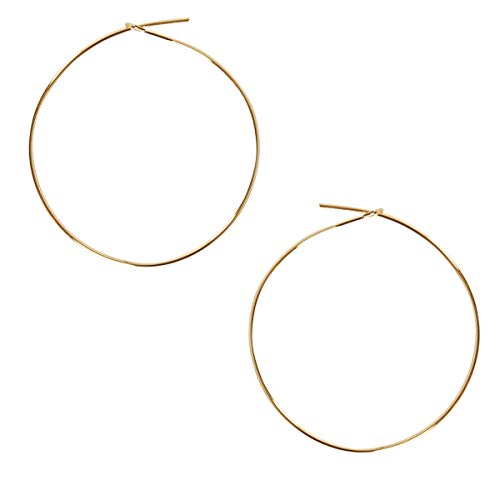 Humble Chic Thin Hoop Earrings for Women - Hypoallergenic Lightweight Wire Threader Loop Drop Dangles, Safe for Sensitive Ears, 18K Yellow - 1.5 inch, Gold-Electroplated, Medium, 38mm