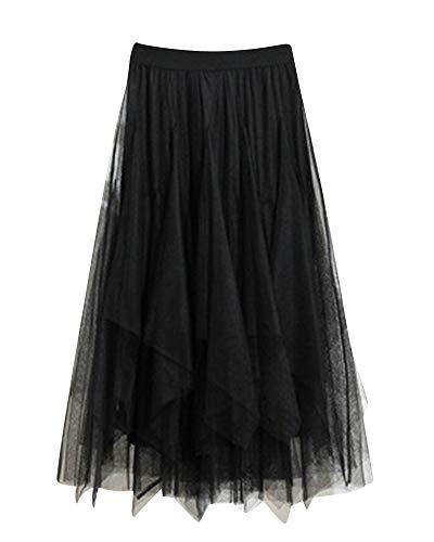 Falda Larga De Tul con Cintura Elástica Falda De Gasa Suave Falda De Tul Tutu Plisada Falda para Mujer Negro