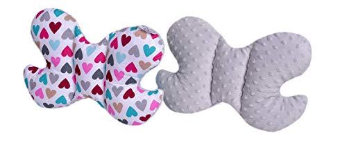 Medi Partners Coussin de nuque pour enfant - 100% coton - Coussin de nuque pour bébé - Pour voiture, poussette, voyage, sommeil - Motif cœurs multicolores avec minky gris