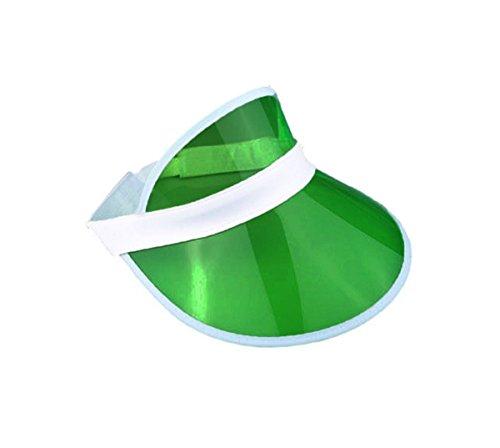 WickedFun® Unisex Retro 80er Jahre Neon Sonnenblende Hut Stirnband Kappe für Golf Tennis Hirsch Poker Party Gr. One size, grün