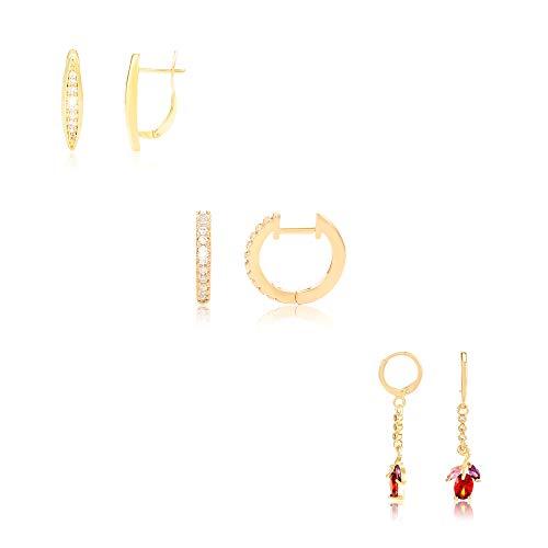 BSJELL Huggies Hoop Earrings Set For Girls (A)