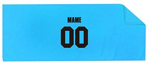/YYY/名入れ スポーツタオル 【センター】【 番号 名前 】【水色シャーリングタオル】【黒文字】【フリー】