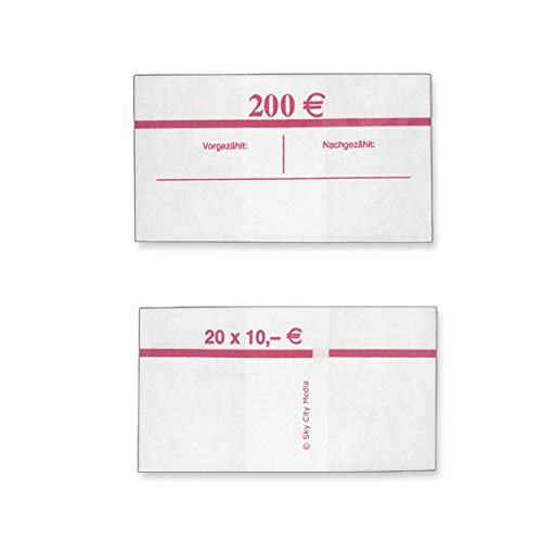 Banderolen für Euro Geldscheine je 50x (10 € Banderole) Geldbanderole Papier für Geldbündel Fassungsvermögen je 20 Scheine