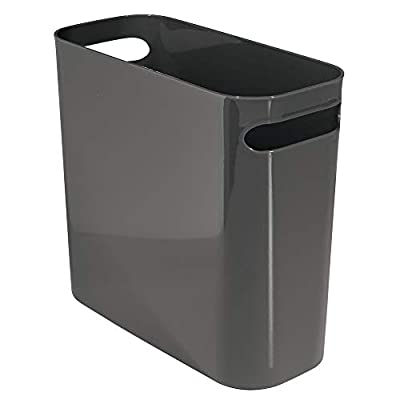 InterDesign Una Rectangular Trash Can with Handles, Waste Basket Garbage Can for Bathroom, Bedroom, Home Office, Dorm, College, 10-Inch, Charcoal Gray