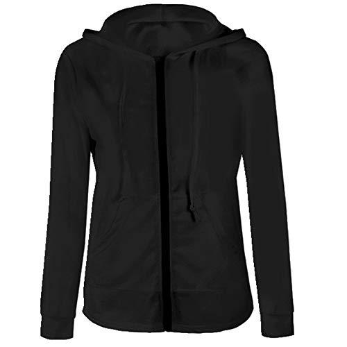 N\P Sudadera con capucha para mujer, de manga larga, para otoño, primavera, patchwork, bolsillo con cremallera