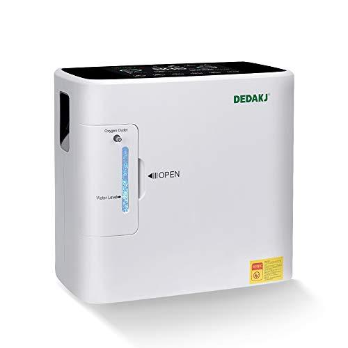 DEDAKJ Concentratore di Ossigeno, 1-8L/min il Flusso 30%-90% Regolabile Concentrazione Ventilatore Polmonare Portatile, DE-1S