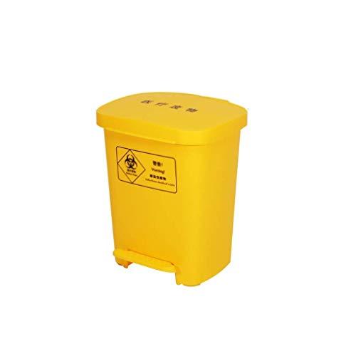 ZHHZ Bote de Basura Cubo de Basura médico Amarillo Engrosamiento Notable Bote de Basura Tipo Pedal con Tapa Bote de Basura Clínica hospitalaria al Aire Libre Bote de Basura Bote de Basura (Tam