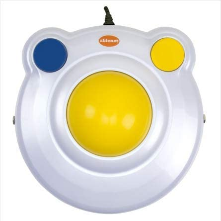 """BIGtrack 2.0 Trackball - for Users who Lack Fine Motor Skills to Use a Mouse. A Big 3"""" Trackball with 2 Blue (Left and Right Mouse) Buttons -#12000006 (Switches Not Included)"""