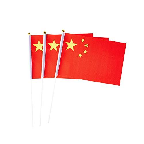 pretty_jessie Chinesische Flagge, Mini-Fahnen für Party, Klassenzimmer, Garten, Olympische Spiele, Feste, Clubs, Paraden, Partys, Schreibtisch-Dekorationen (20 Stück)