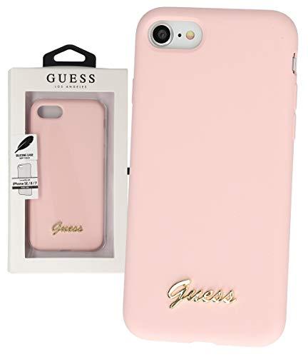 Guess GUHCI8LSLMGLP - Cover vintage in silicone per Apple iPhone 7, 8, SE 2020, colore: Rosa chiaro