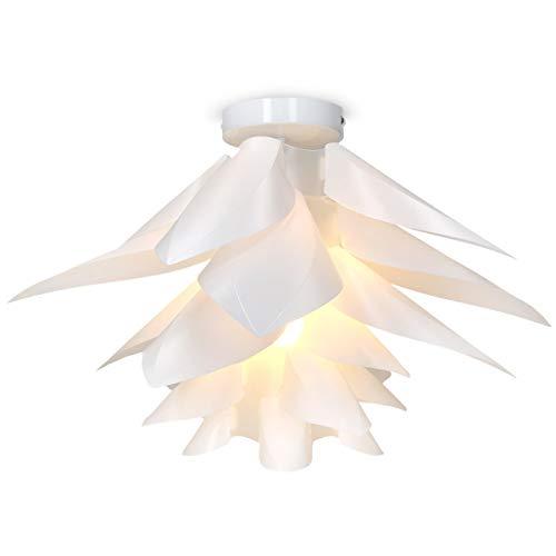kwmobile Lámpara de puzzle colgante DIY   Iluminación de techo con diseño decorativo de flor de loto   Con enganche de techo y toma E27 en blanco