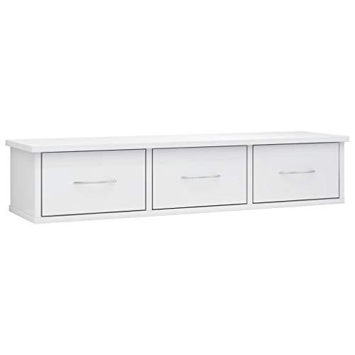 vidaXL Estante de Cajones Pared Aglomerado Hogar Decoración Diseño Bricolaje Mobiliario Mueble Estantería Repisa Balda 88x26x18,5 cm Blanco Brillo