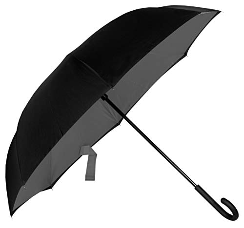 Ombrello Inverso - Donna Uomo - Struttura Grande Rinforzata per Due Persone - Apertura Automatico - Antivento Resistente Reversibile - Nero Grigio