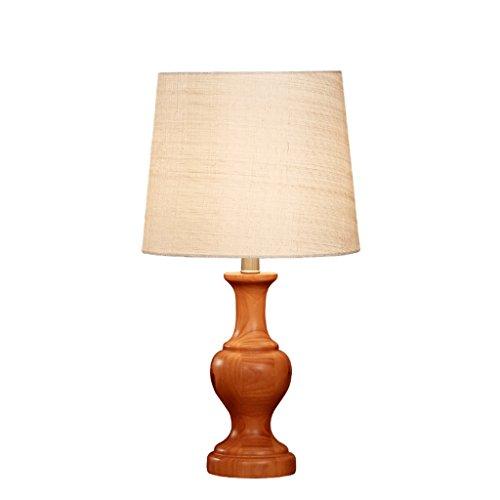 Schreibtischlampen Nachttischlampen Tischlampen Chinesische Massivholz Tischlampe, Runde Leinen Lampenschirm, Studie Schlafzimmer Wohnzimmer Nachttischlampe, E27, Kirschholz Farbe Tisch- & Nachttischl