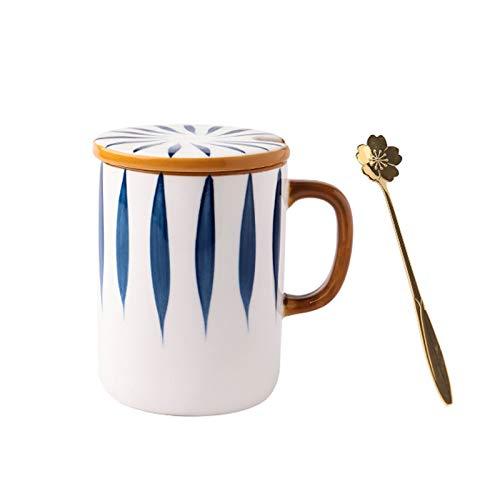 Tazas para niños Taza de gran capacidad 11.8oz, taza de la oficina de cerámica con cucharada de tapa, taza de café con estilo personalidad, taza de leche retro japonesa taza de té ( Color : C )