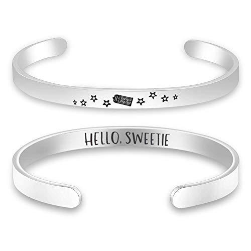 Lywjyb Birdgot Doctor TV Show Gift Doctor TV Show Inspired Bracelet Hello Sweetie Dr Who Bracelet Valentine's Day Gift for Her River Song Tardis Gift Anniversary Gift (Hello Sweetie Dr Who CB)