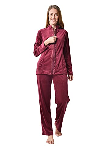 RAIKOU Damen Hausanzug Velours Nicki Freizeitanzug Trainingsanzug Jogginganzug Schlafanzug mit Reißverschluss umschlossen von Satin, Freizeit Zweiteilige Set Oberteil und Hose (Weinrot,40/42)