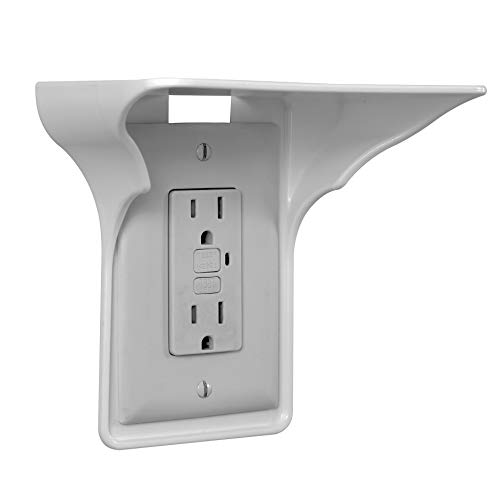 BeraTek Industries Power Perch Single Wall Outlet Shelf. Home Wall Shelf Organizer for Outlets. Perfect for Bathroom, Kitchen, Bedrooms with Cord Management and Easy Installation. White 1-Pack