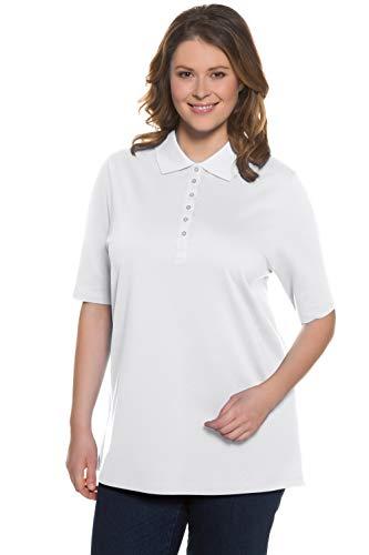 Ulla Popken Women's PoloPiquee Longsleeve T-Shirt, White (Weiss 20), 24