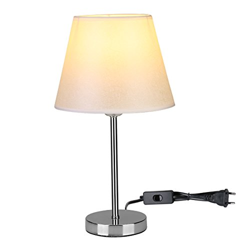 Lighting EVER 3100034-EU Le Lámpara de Mesa y Mesilla de Noche, E27, Pantalla de Tela, Estilo Vintage