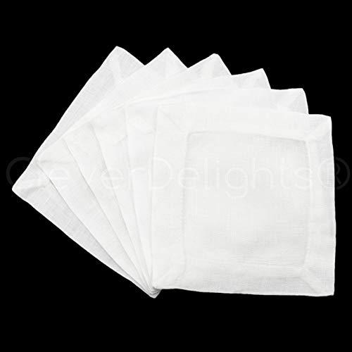 "CleverDelights 6 White Linen Cocktail Napkins - 6"" x 6"" - 100% Pure Linen - Beverage Coaster Napkins"