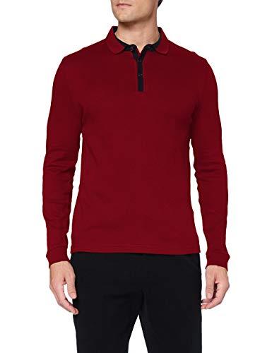 Pierre Cardin Herren Longsleeve Interlock Structure Polo-Pullover, red, XL
