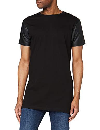 Urban Classics Long Zipped Leather Imitation Sleeve tee Camiseta, Negro (blk/blk 17), Small para Hombre