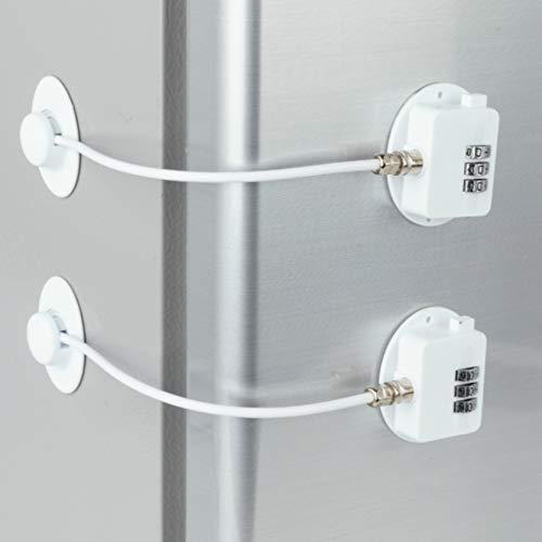 2 Pack Refrigerator Lock Combination Coded Fridge Lock Freezer Child Safety Lock Door Lock with Strong Adhesive No Keys Needed White