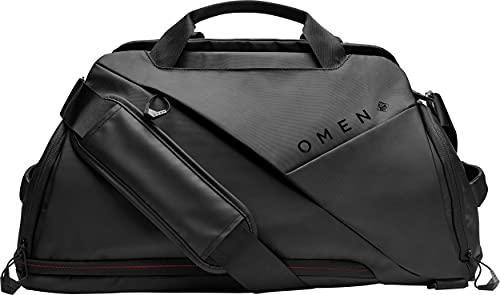 HP - Gaming Omen Transceptor Bolsa Duffle Bag para portátil de hasta 17,3 pulgadas, bolsillo RFID, enchufe USB integrado, negro