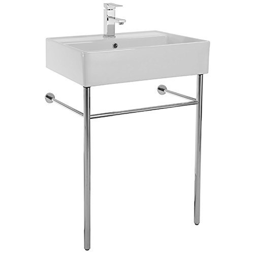 Scarabeo 8031/R-60-CON-One Hole Teorema Rectangular Ceramic Console Sink and Polished Chrome Stand, White