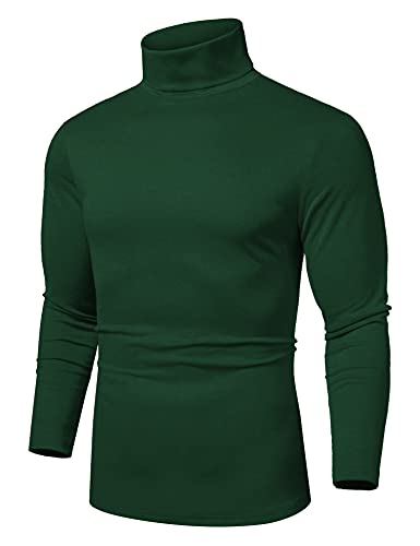 Coofandy Mens Casual Basic Thermal Turtleneck Slim Fit Pullover Thermal Sweaters, Green, Small