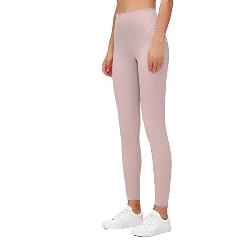 Pantalones de yoga para mujer, sensación desnuda, cintura alta, gimnasio, deportes, a prueba de sentadillas, pantalones de yoga, leggings ligeros (color: arenisca, tamaño: grande)