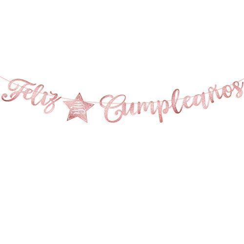 Guirnalda Papel Feliz Cumpleaños Español Banderín Decorativo Colgar Pancarta para Fiesta de Cumpleaños Happy Birthday Banner Bandera Felicidades Papel DIY Cartulina (Oro Rosa con Purpurina)